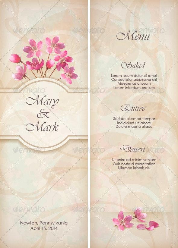 Floral Decorative Wedding Menu Template Design - Weddings Seasons/Holidays