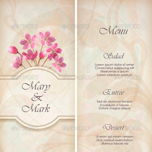 Floral Decorative Wedding Menu Template Design