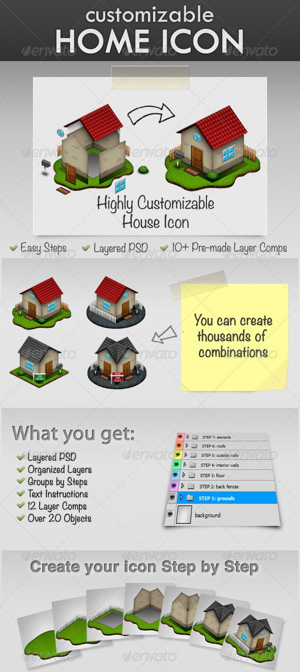 Highly Customizable House Icon - Buildings Objects