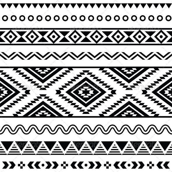 Tribal Seamless Pattern, Aztecb Black and White