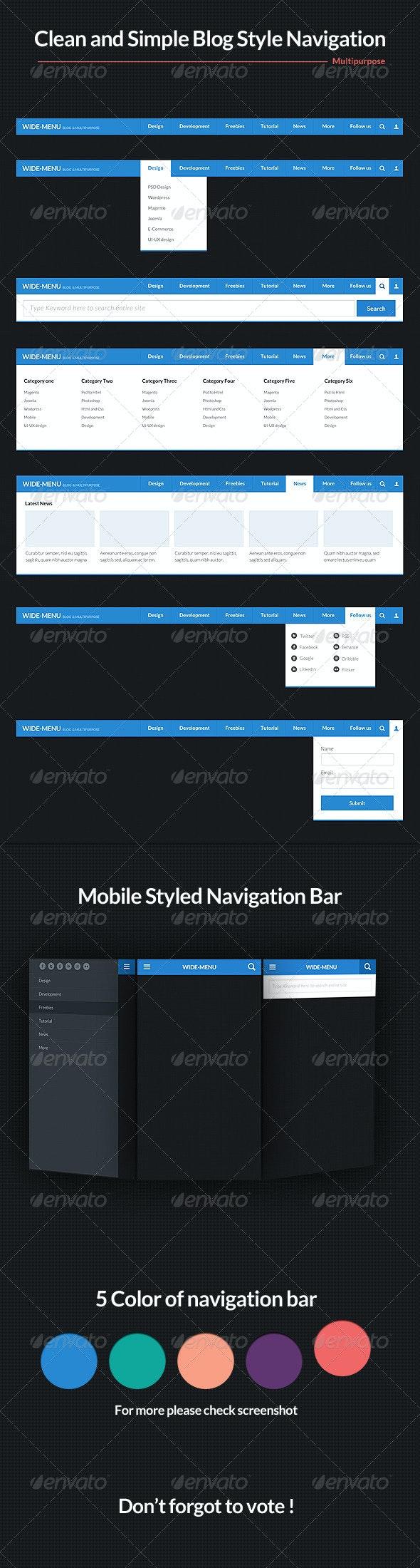 Wide Blog Style Navigation Bar Psd - Navigation Bars Web Elements