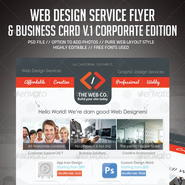 Web Design Service Set - 1 (Flyer & Business Card)