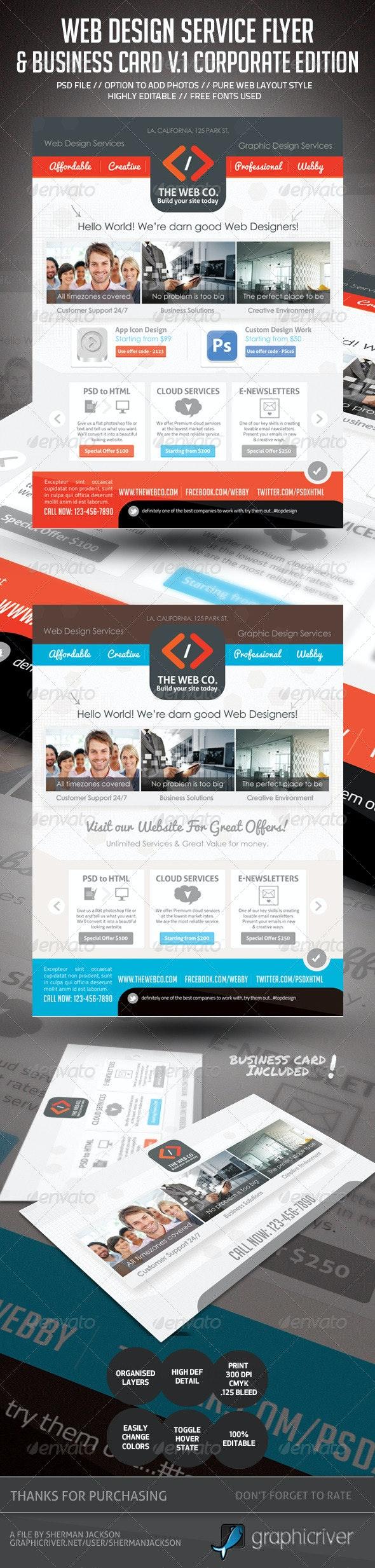 Web Design Service Set - 1 (Flyer & Business Card) - Commerce Flyers