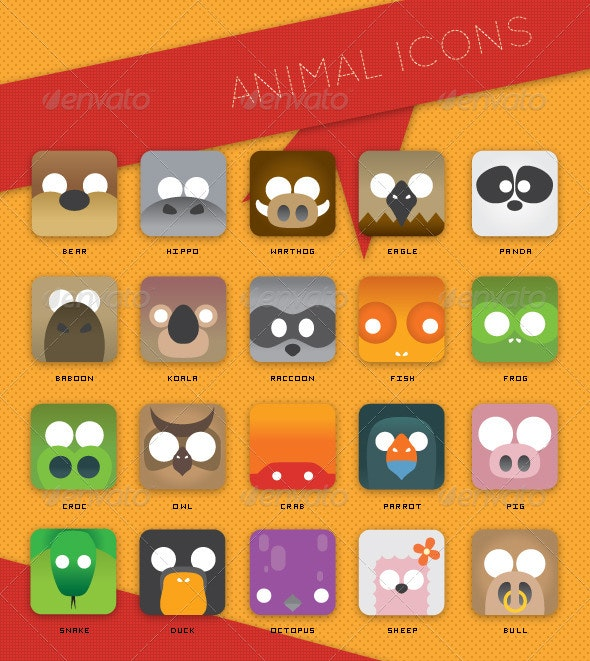 Animal Face Icons - Animals Characters