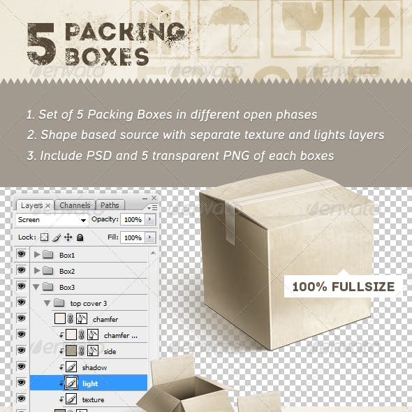 5 Packing Boxes