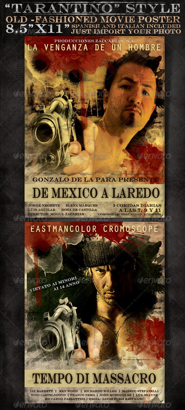 "8x5""x11"" Mexican and Italian Desperado Film Poster - Clubs & Parties Events"