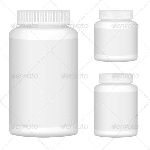 White Blank Plastic Bottle Set for Packaging Design