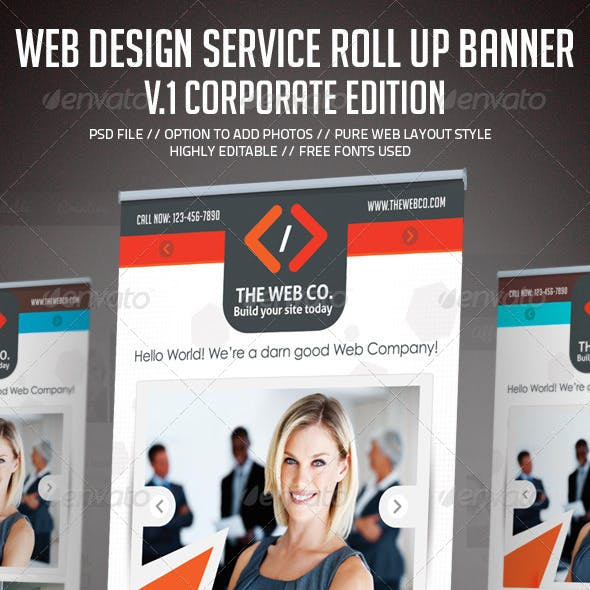 Web Design Service Roll Up Banner Signage - 1
