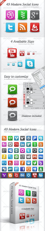 49 Modern Social Icons - Web Icons