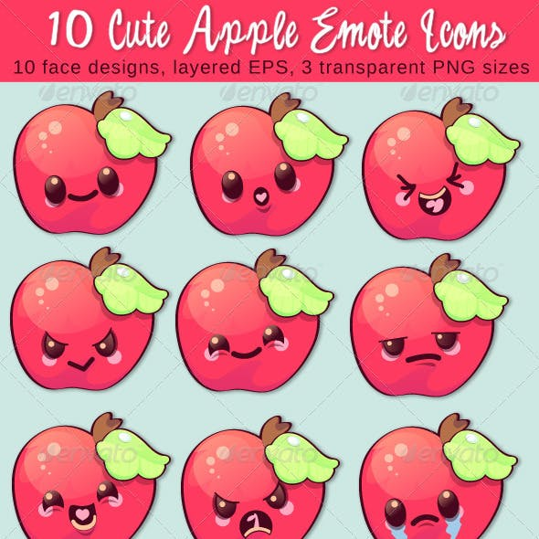 10 Cute Apple Emote Vector Icons