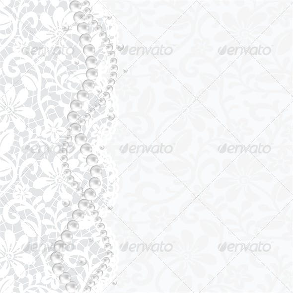 Wedding, Invitation or Greeting Card with Lace