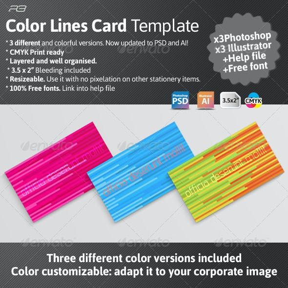 Color Lines Card Template