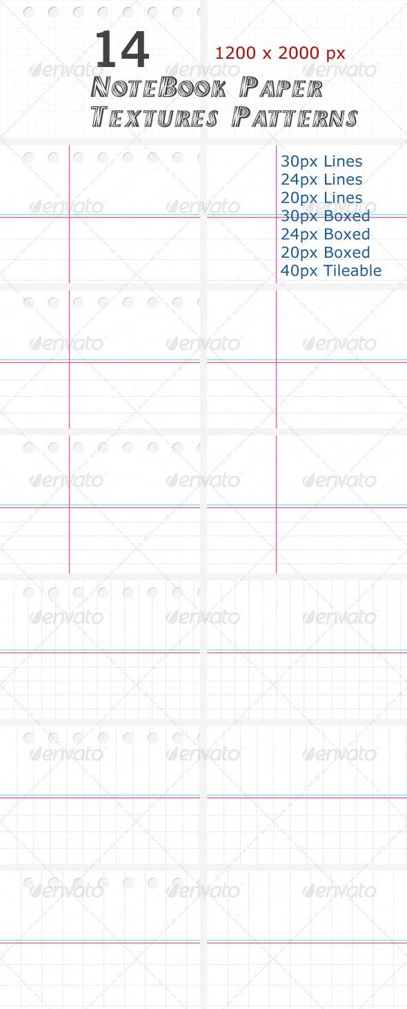 14 NoteBook Paper Textures Patterns - Paper Textures