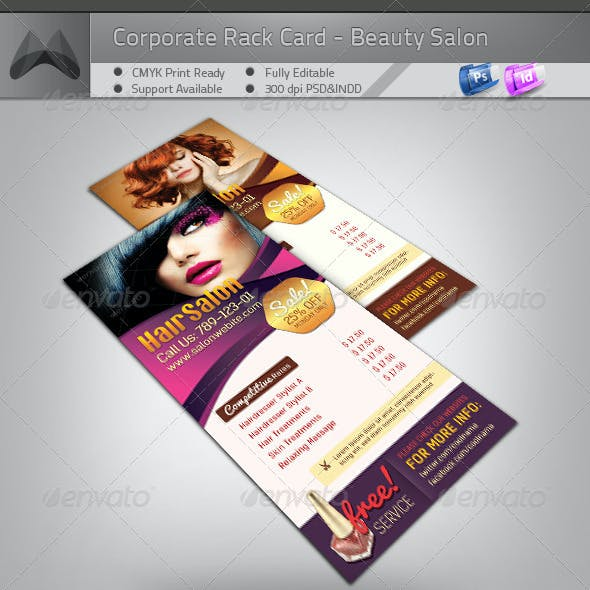 Corporate Rack Card - Beauty Salon