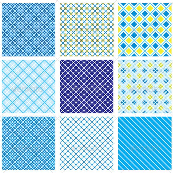 Set of 9 Seamless Patterns with Checked Textures