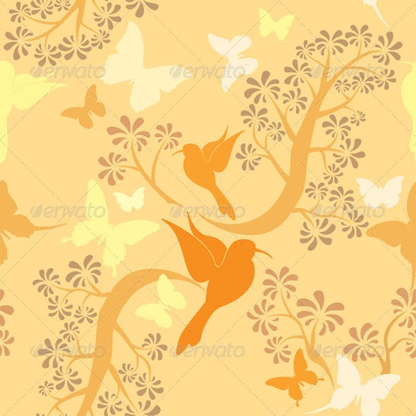 Vanilla Colors Seamless Pattern with Hummingbirds