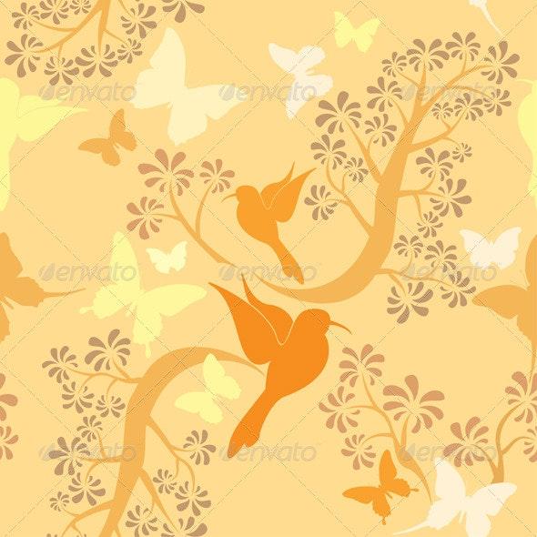 Vanilla Colors Seamless Pattern with Hummingbirds - Patterns Decorative