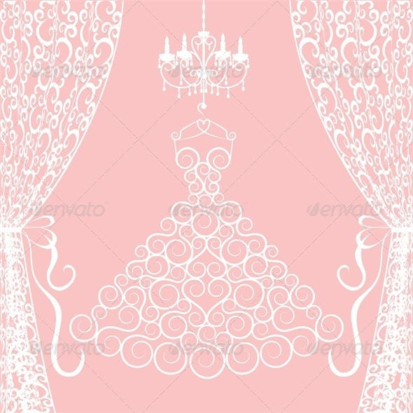 Wedding Card with Dress, Curtains and Chandelier