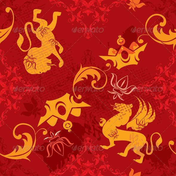 Seamless Pattern with Heraldic Silhouettes Element