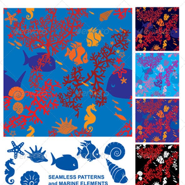 Seamless Background with Coral Reef and Marine Life