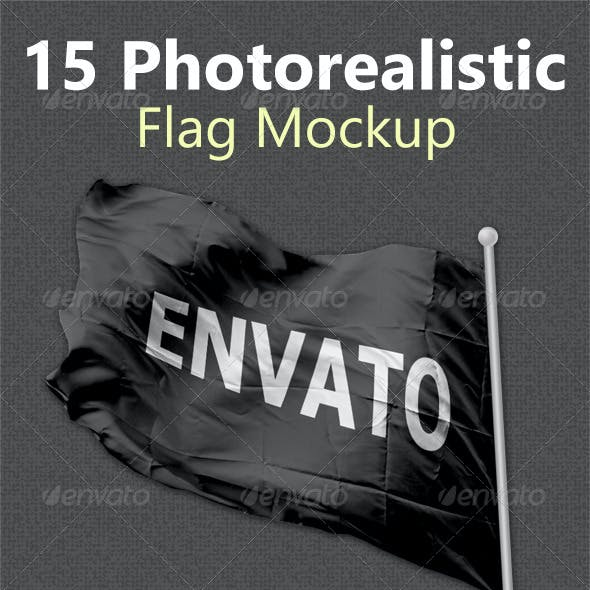 15 Photorealistic Flag Mockups