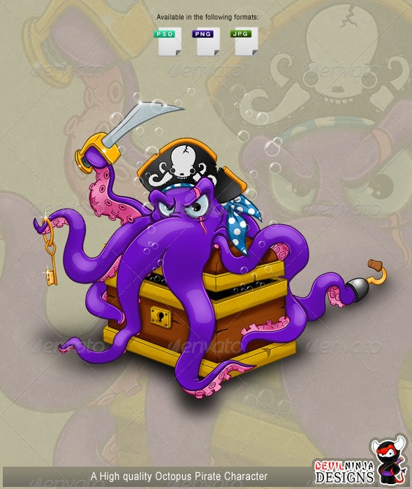 Octopus Pirate Character - Animals Illustrations