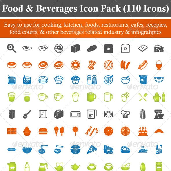 Food & Beverages Icon Pack (110 Icons)