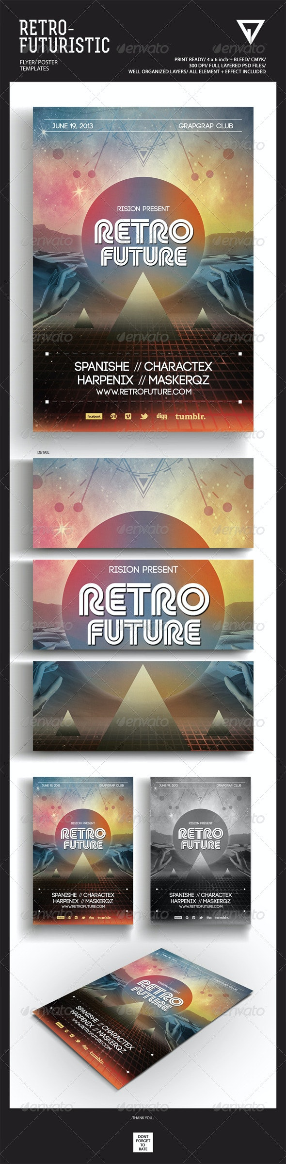 Retro Futuristic Flyer/Poster - Events Flyers