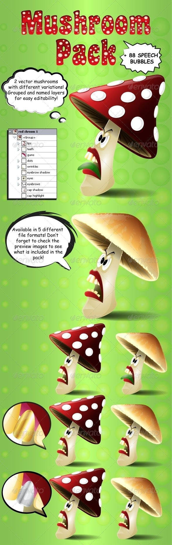 Mushroom Pack with Speech Bubbles - Characters Vectors