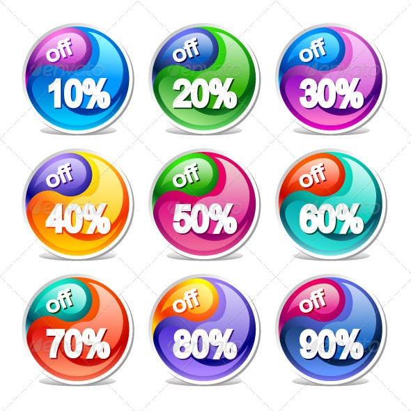Vector Colorful Discount Labels.