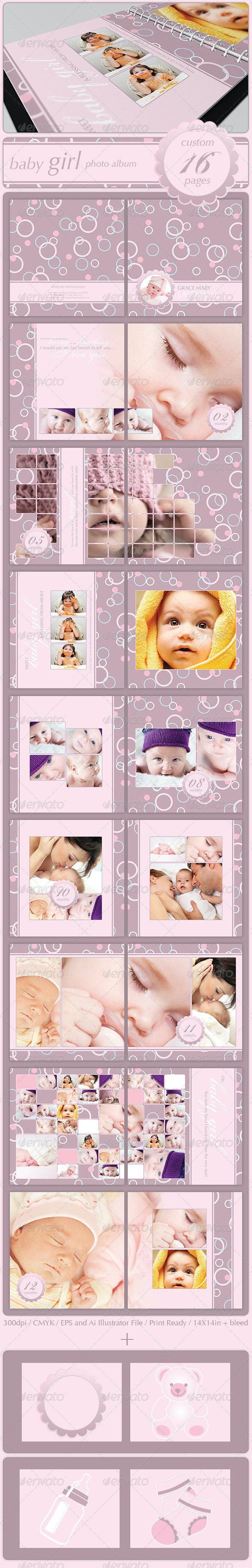 Baby Girl Photo Album - Photo Albums Print Templates