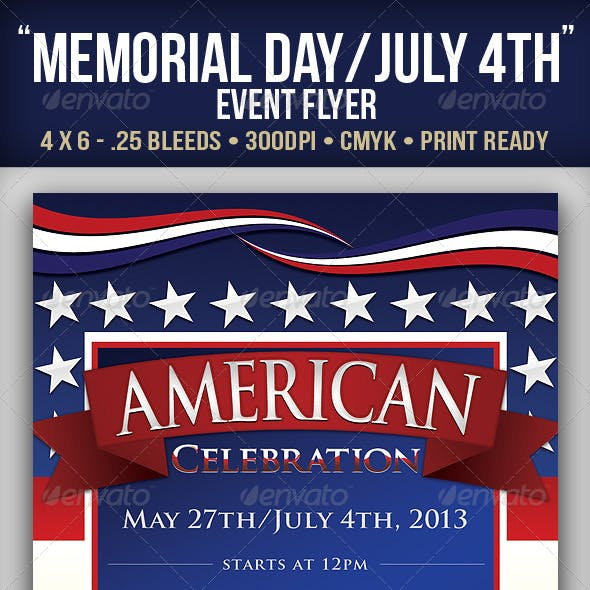 """American"" Memorial/Independence Day Event Flyer"