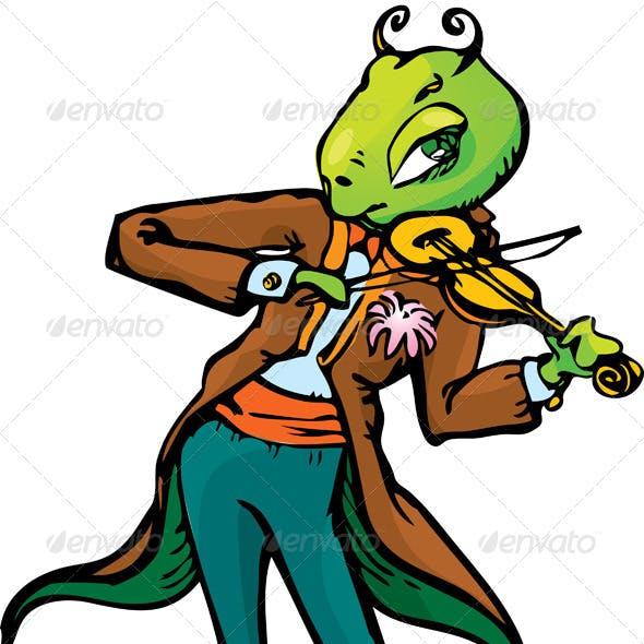 Cartoon of Grasshopper Playing Violin