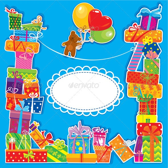 Baby Birthday Card with Teddy Bear and Gift Boxes  - Birthdays Seasons/Holidays