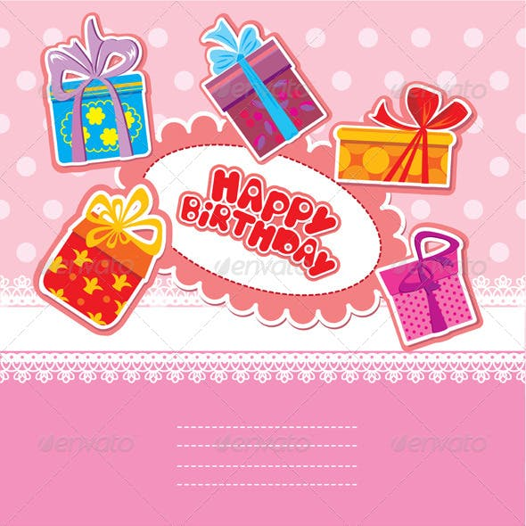 Baby Birthday Card with Gift Boxes