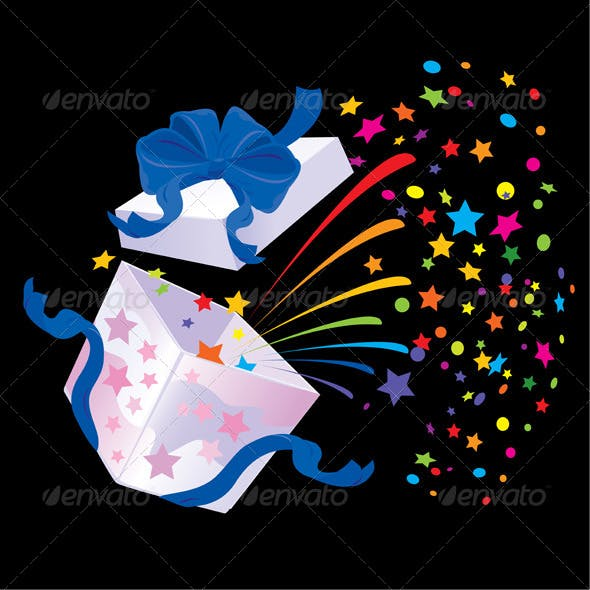 Open Gift Box with Rainbow Colors Confetti Booming