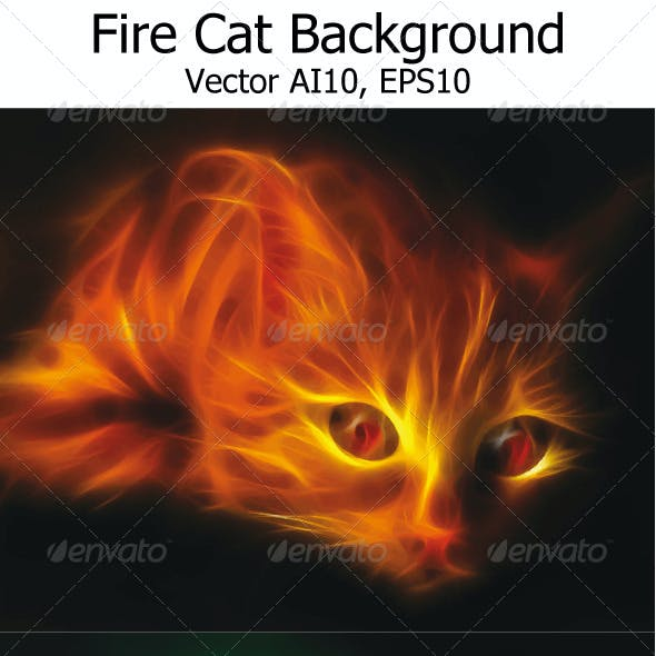 Fire Cat Background