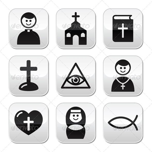 Religion Catholic Church Vector Buttons Set