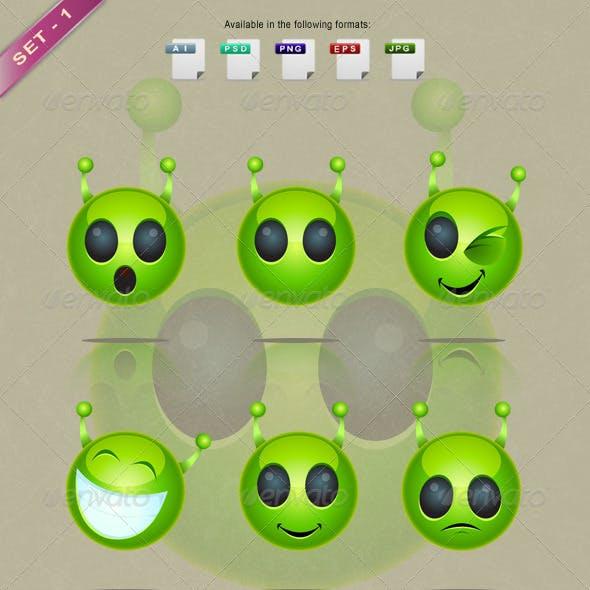 Alien Face Icons - Set 1
