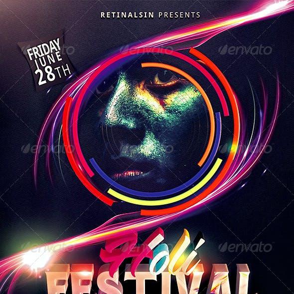 "Holi Festival Flyer Template ""Festival of Colors"""
