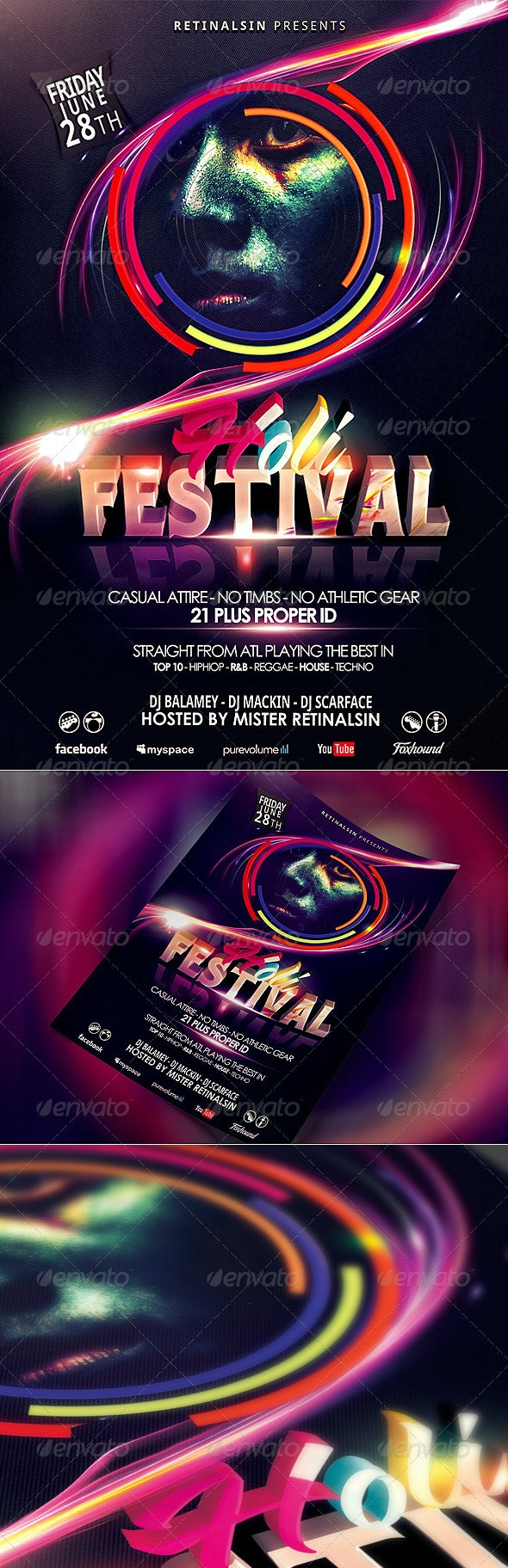 """Holi Festival Flyer Template """"Festival of Colors"""" - Events Flyers"""