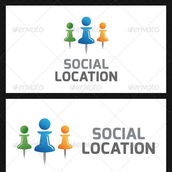 Social Location Pin Logo Template