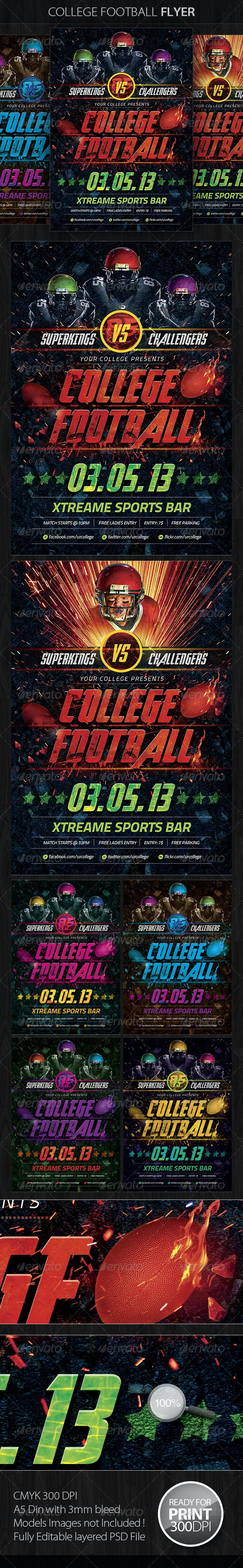 College Football Flyer Template - Sports Events