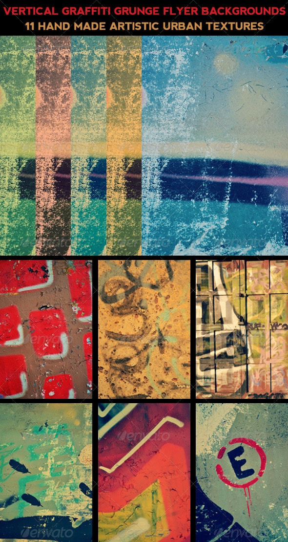 Vertical Graffiti Flyer Backgrounds - Isolated Objects