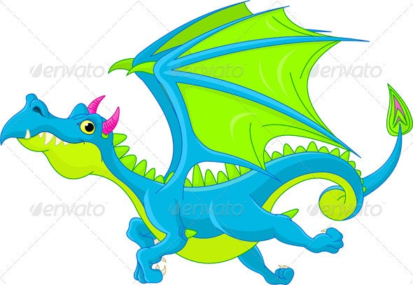 Cartoon flying dragon - Monsters Characters