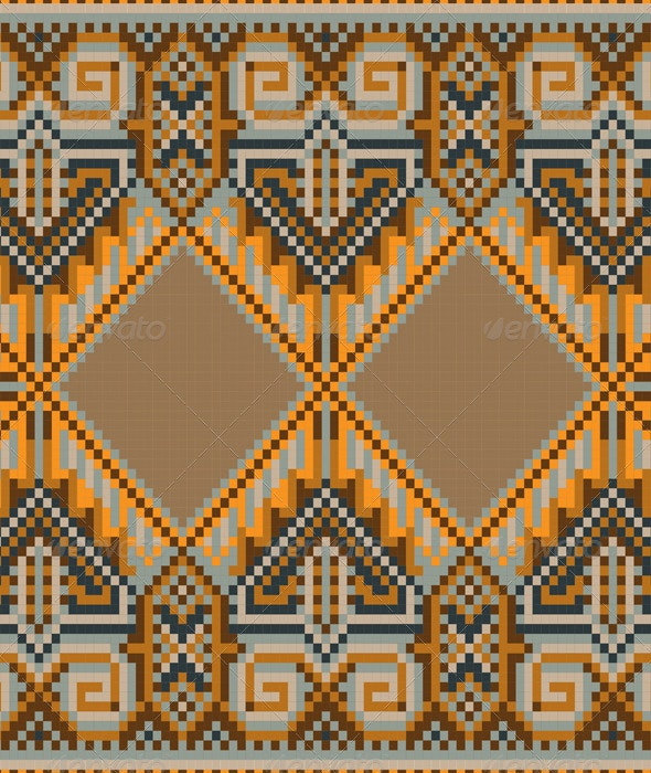 Oriental Rug in Warm Orange Brown Nuances - Borders Decorative