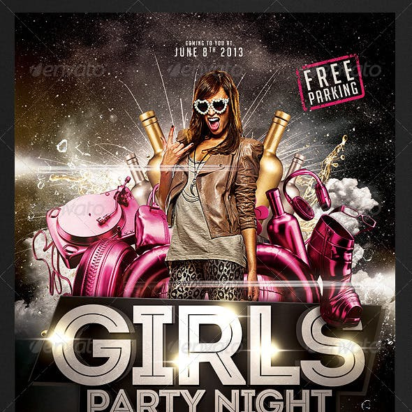 Girls Party Night Flyer Template