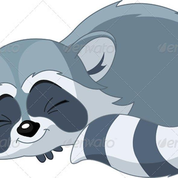 Funny sleeping cartoon raccoon