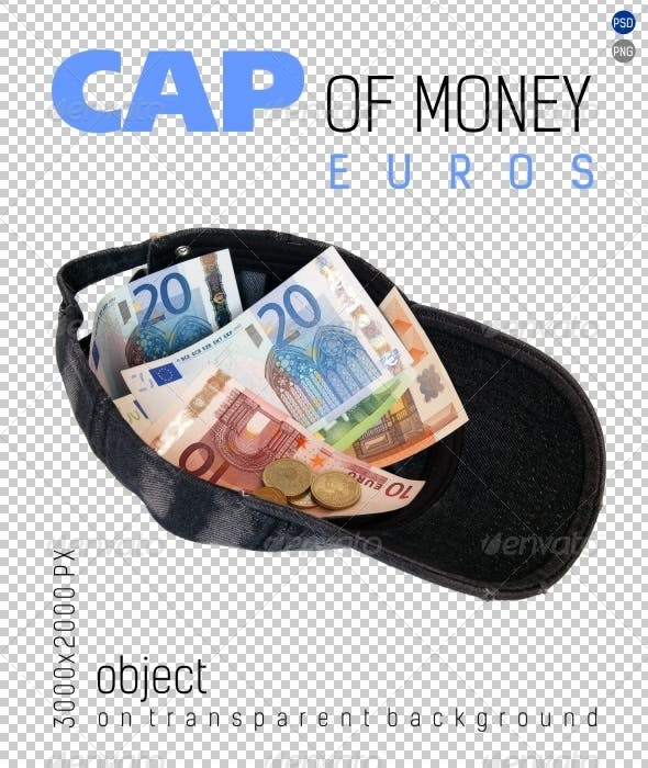 Cap of Money (Euros) on Transparent Backgrounds