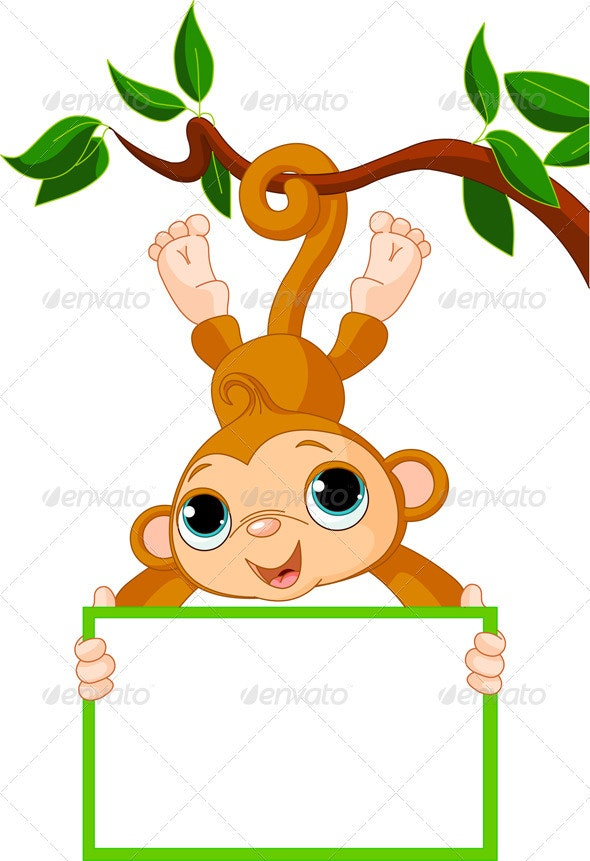 Baby monkey on a tree holding blank sign - Animals Characters